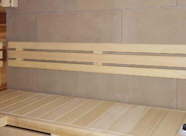 Vestavěná bio sauna Modus se stěnou z keramiky a prosklením