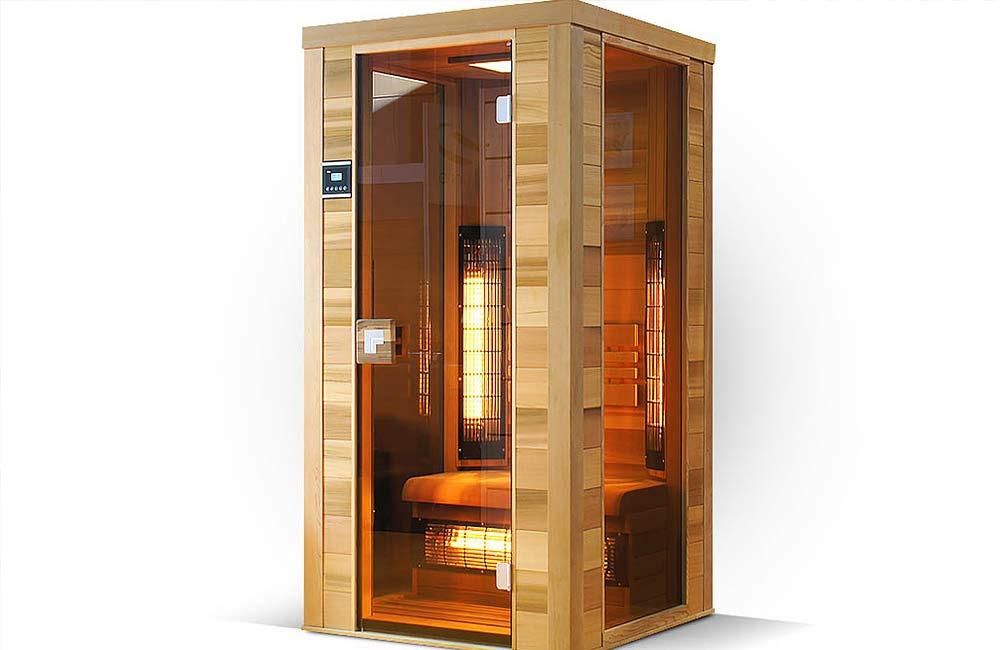 Infrasauna Grand Vitae pro 1 osobu s prosklenými bočními stěnami a dveřmi