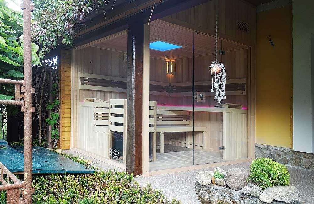 Sauna na míru může být i s velkorysým prosklením a můžete ji mít i na své terase