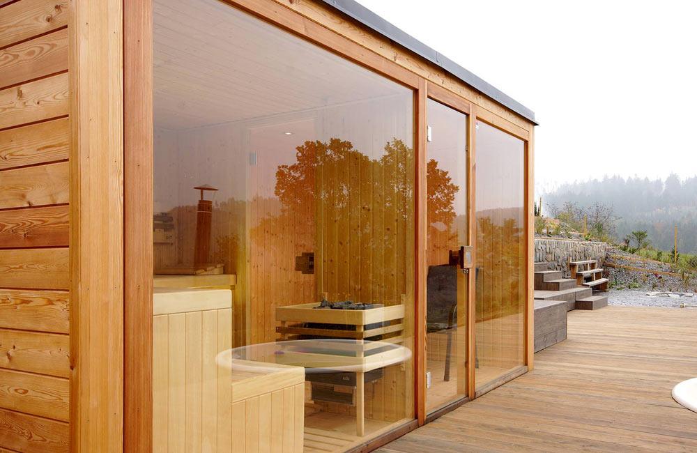 Venkovní sauna je nádherná